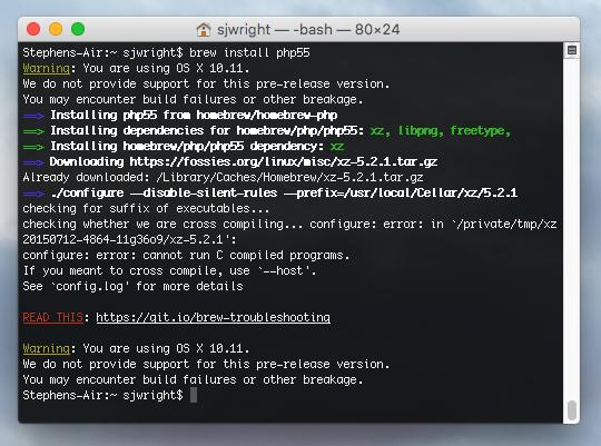 El Capitan Homebrew install errors