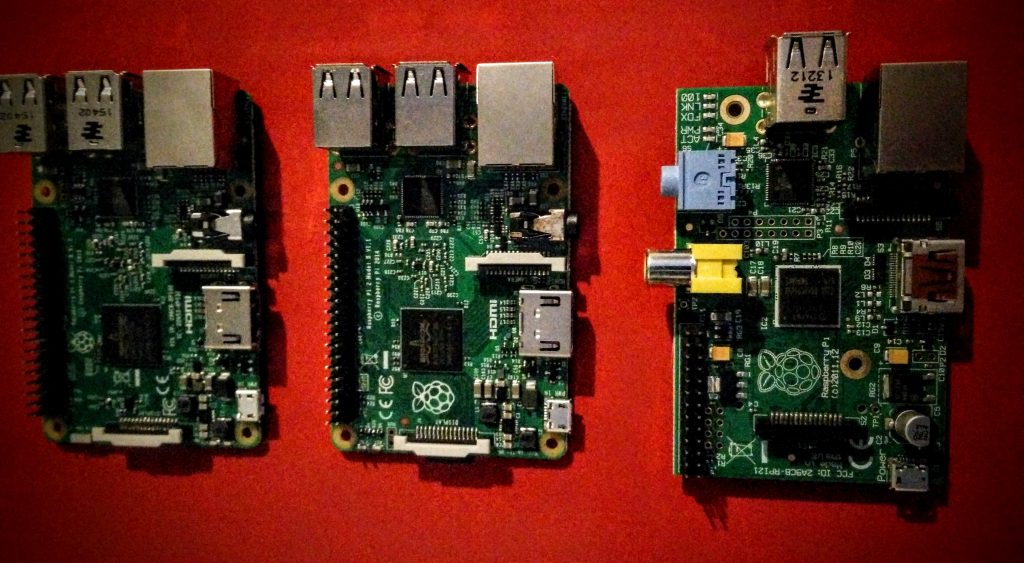 Pictured, left to right: Raspberry Pi 3, 2 and 1
