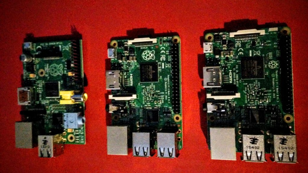Pictured left to right: Raspberry Pi 1, 2 and 3