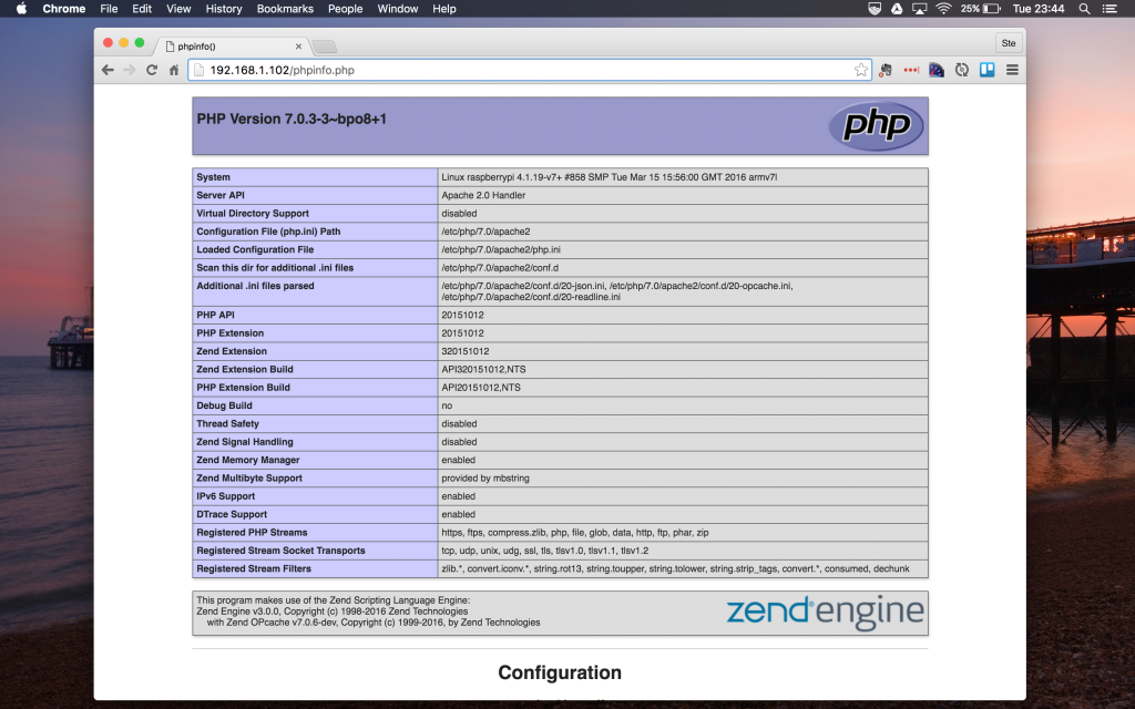 Install PHP 7 on Raspberry Pi