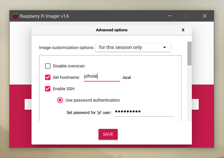 Advanced options Raspberry Pi imager