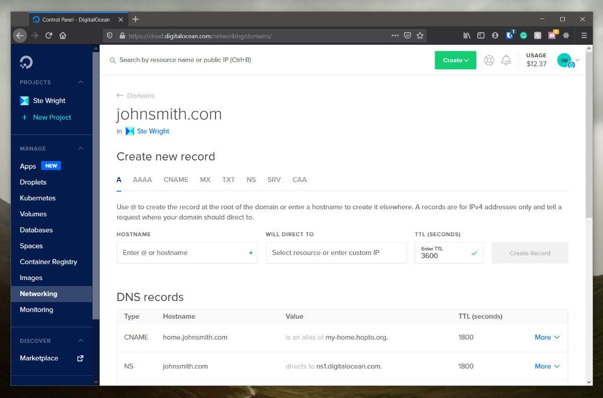Set up a domain on digital ocean